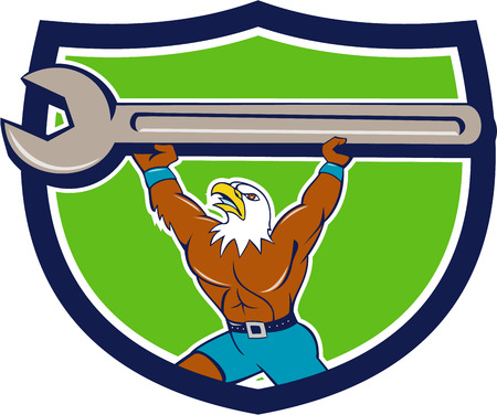 american bald eagle: Illustration of a american bald eagle mechanic lifting giant spanner looking up Illustration