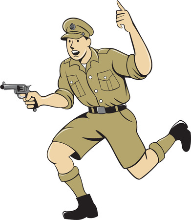 army background: Illustration of a World War one British officer soldier serviceman with pistol running Illustration