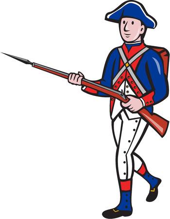 Illustratie van een Amerikaanse revolutionaire militair met geweer marcheren op geïsoleerde achtergrond gedaan in cartoon-stijl.