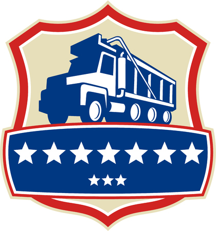 axle: Illustration of a triple axle dump truck set inside shield crest with stars viewed from low angle done in retro style.