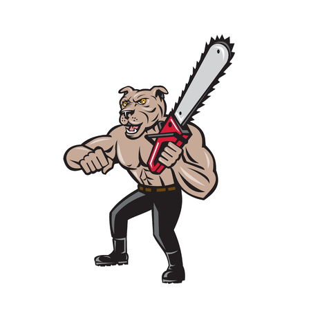 chainsaw: Illustration of mongrel dog lumberjack arborist tree surgeon holding a chainsaw