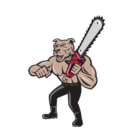 Illustration of mongrel dog lumberjack arborist tree surgeon holding a chainsaw