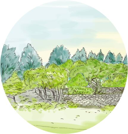 reserve: Watercolor style illustration of trees in park nature reserve with cornwall in background set inside oval shape.