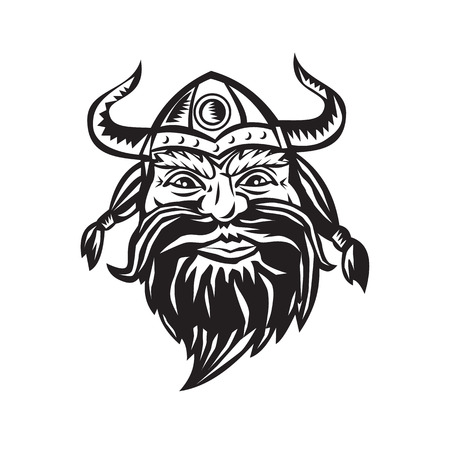 norseman: Black and white illustration of a head of a norseman viking warrior
