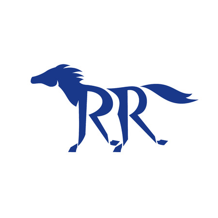 steed: Illustration of a dark blue horse silhouette running with double R as its legs