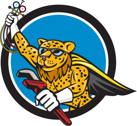 Caped superhero leopard refrigeration and air conditioning mechanic holding a pressure temperature gauge and a wrench