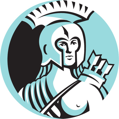 over the shoulder: Illustration of a bust of female warrior with spartan helmet with arrows slung over shoulder viewed from front set inside circle done in retro style. Illustration