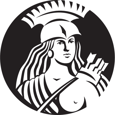 over the shoulder: Black and white illustration of a bust of female warrior with spartan helmet with arrows slung over shoulder
