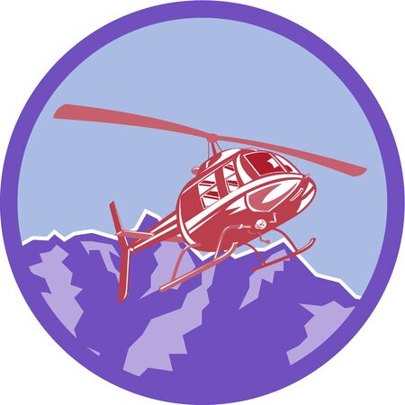 airborne: Illustration of a helicopter chopper flying airborne set inside circle with alps mountain in the background done in retro style.