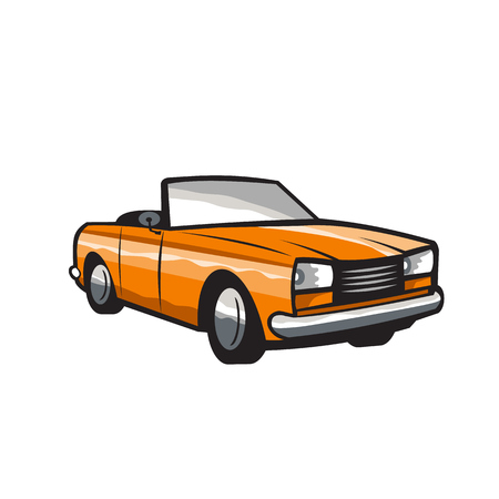 folding: Illustration of a vintage cabriolet coupe car with top-down folding roof