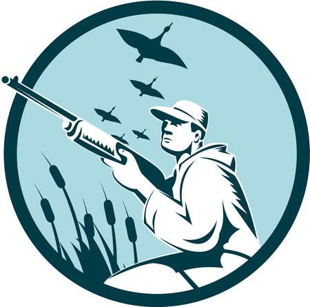 cazador: Ilustración de un cazador de patos con la caza del rifle que apunta la escopeta de tiro con patos, gansos en el fondo