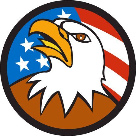 american bald eagle: Illustration of an american bald eagle head looking up viewed from side set inside circle with usa flag stars and stripes in the background done in cartoon style. Illustration