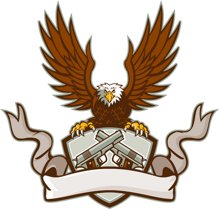 Illustratie van een kale adelaar die een schild met behulp van zijn klauwen met kuif met een gekruiste 1911 halfautomatisch .45 kaliber pistool met het lint aan de voorkant gedaan in retro stijl. Stock Illustratie