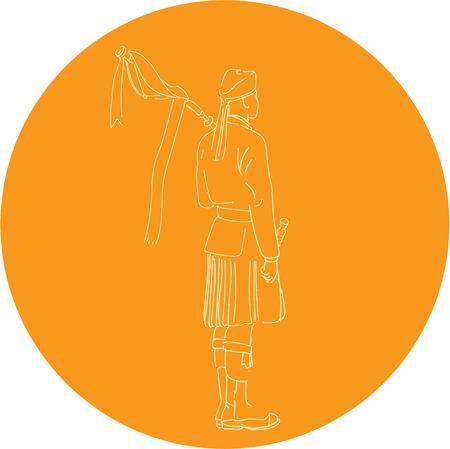 gaita: Gráfico de la ilustración del estilo del bosquejo de un gaitero escocés soldado escocés