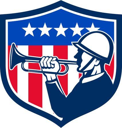 Illustration d'un clairon de soldat américain fait un reveille vu de côté avec usa étoiles drapeau et rayures