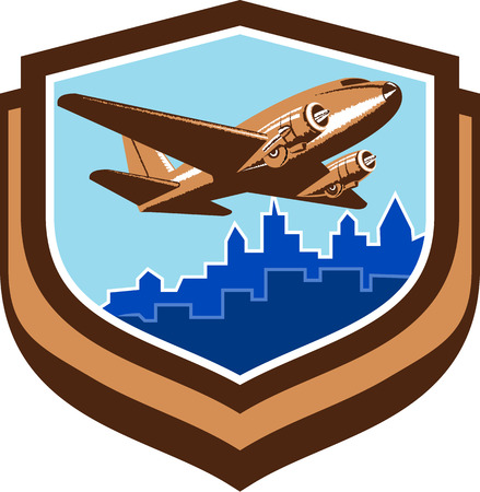 fixed wing aircraft: Illustration of a vintage passenger DC10 airplane take off with cityscape buildings in background