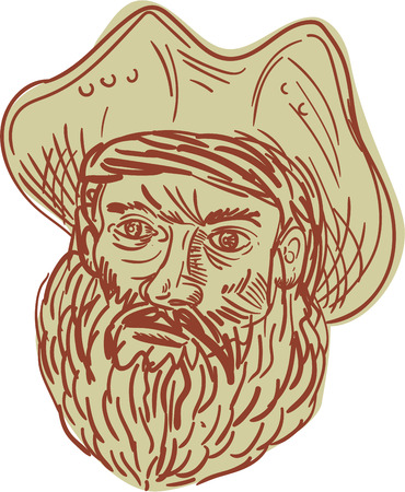 brigand: Drawing sketch style illustration of a head of a bearded pirate wearing hat Illustration