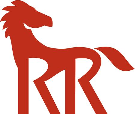 Illustratie van een rood paard silhouet met dubbele R als zijn benen