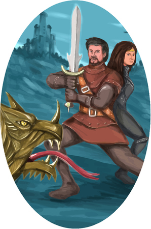 mythical: Watercolor style illustration of a cavalier or knight brandishing a sword in fighting stance with a Lady or Princess maiden behind him fighting a mythical dragon