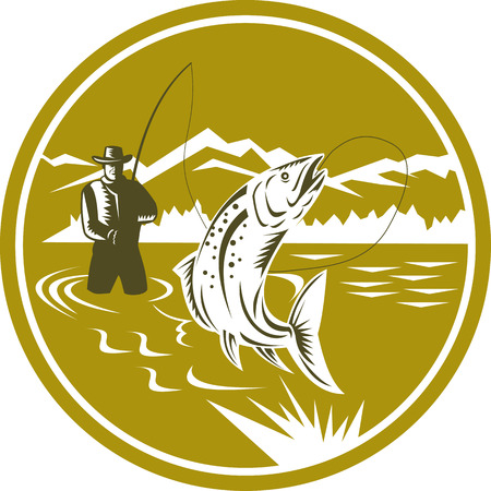 Illustration of a fly fisherman fishing casting rod and reel reeling trout fish