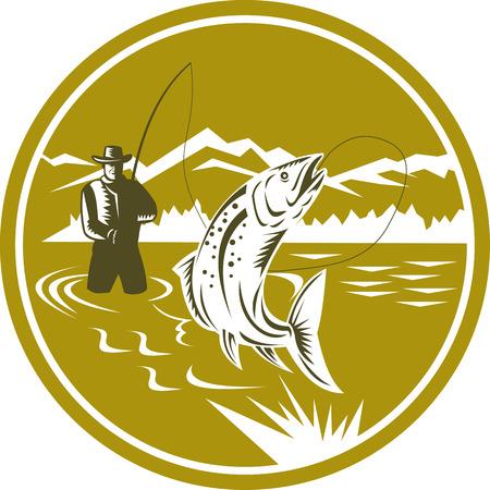 Ilustración de una barra de bastidor de la pesca con mosca pescador y el devanado de bobina de truchas