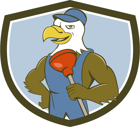american bald eagle: Illustration of an american bald eagle plumber wearing overalls and hat holding plunger with one hand on hips looking to the side set inside shield crest done in cartoon style.