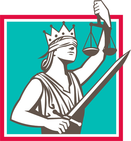 blindfold: Illustration of a lady justice with crown and blindfold holding sword and raising scales set inside square shape done in retro style.
