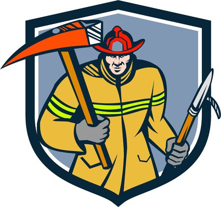 ax: Illustration of a fireman fire fighter emergency worker holding a fire axe and hook viewed from front set inside shield crest on isolated background done in retro style. Illustration