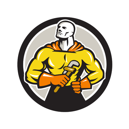 looking up: Illustration of a plumber superhero holding monkey wrench looking up Illustration