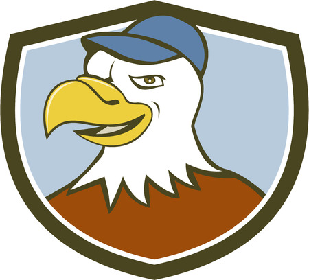 american bald eagle: Illustration of an american bald eagle head wearing hat smiling looking to the side