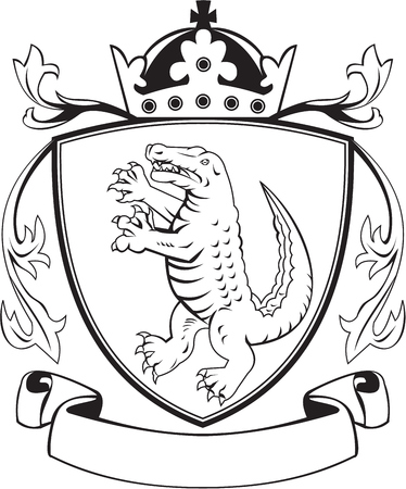 balck: Balck and white illustration of coat of arms of an angry alligator crocodile standing