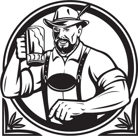 Black and white illustration of a German Bavarian beer drinker raising beer mug for Oktoberfest
