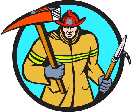 ax: Illustration of a fireman fire fighter emergency worker holding a fire axe and hook Illustration