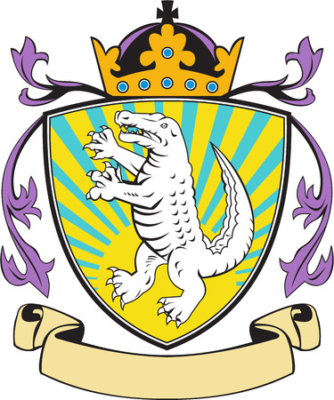 gator: Illustration of coat of arms of an angry alligator crocodile standing