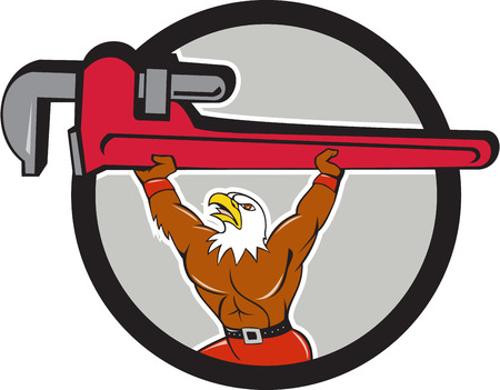 monkey wrench: Illustration of a american bald eagle plumber lifting giant monkey adjustable wrench over head looking up