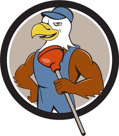 cartoon eagle: Illustration of an american bald eagle plumber wearing overalls and hat holding plunger with one hand on hips looking to the side Illustration