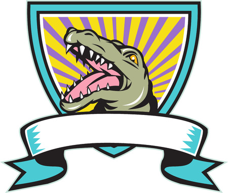 snapping: Illustration of an angry gator alligator crocodile head snout snapping set inside crest shield with ribbon scroll