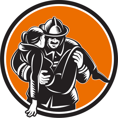 fire fighter: Illustration of a fireman fire fighter emergency worker carrying saving girl