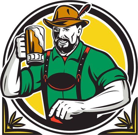 the drinker: Illustration of a German Bavarian beer drinker raising beer mug for Oktoberfest Illustration