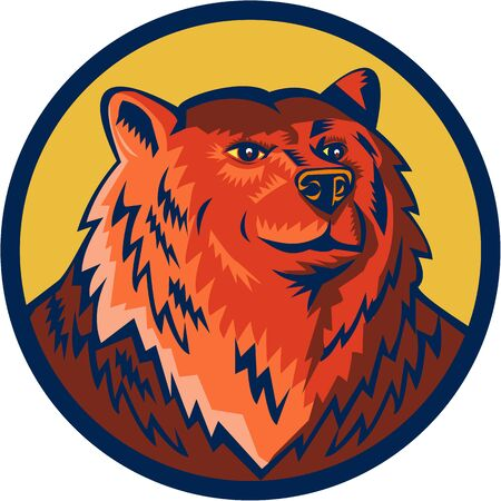 eurasian: Illustration of a Russian bear or Eurasian brown bear head viewed from front set inside circle done in retro style.