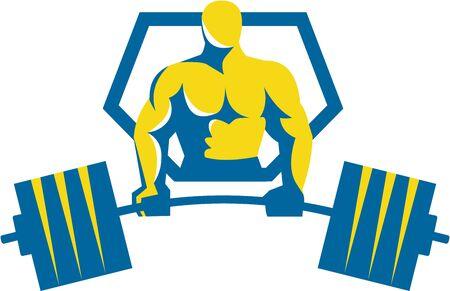 levantar peso: Ilustración de un levantador de pesas levantamiento de midlift barra visto desde delante conjunto dentro cresta escudo hecho en estilo retro.