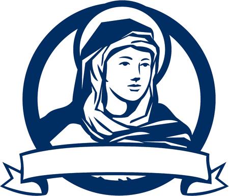 Illustratie van de Heilige Maagd Maria op zoek naar de kant met scroll set binnen cirkel gedaan in retro stijl.