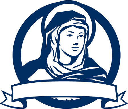 blessed virgin mary: Illustration of the Blessed Virgin Mary looking to the side with scroll set inside circle done in retro style. Illustration