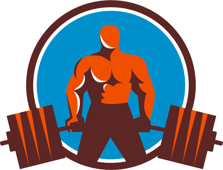 weightlifter: Illustration of a weightlifter lifting barbell midlift viewed from front set inside circle done in retro style.