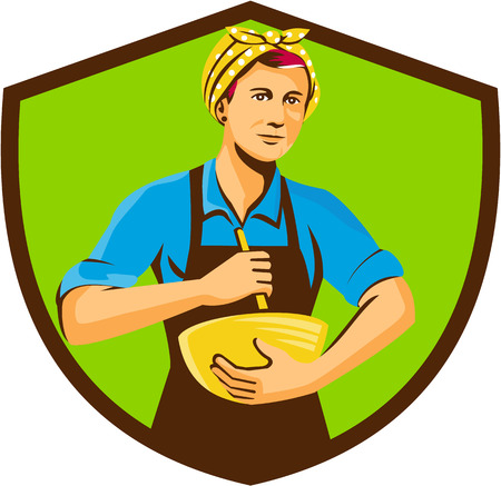 mixing: Illustration of a female chef with bandana holding spatula and mixing bowl mixing viewed from the front set inside shield crest on isolated background done in retro style.