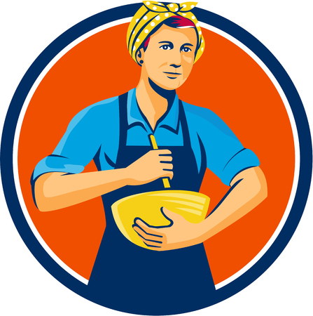 mixing: Illustration of a female chef with bandana holding spatula and mixing bowl mixing viewed from the front set inside circle on isolated background done in retro style.