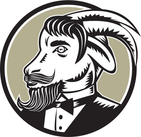 goat horns: Illustration of a goat ram with big horns and moustache beard wearing tuxedo suit looking to the side set inside circle done in retro woodcut style.