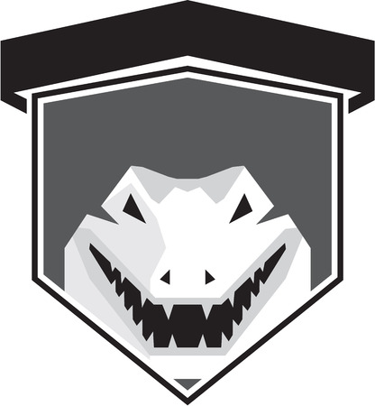 Black and white illustration of an alligator crocodile head smiling set inside shield crest viewed from front done in retro style on isolated background.