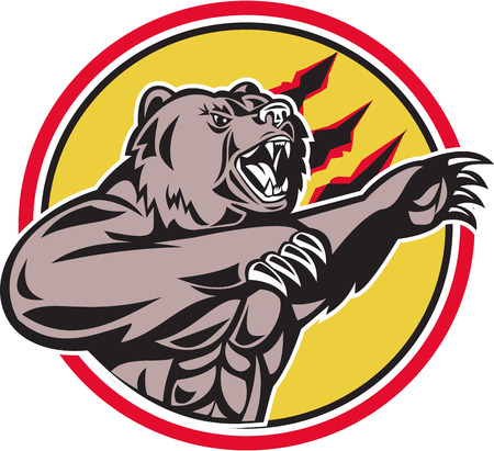 attacking: Illustration of a angry California grizzly North American brown bear swiping his paw attacking done in retro style set inside circle.
