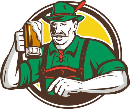 hombre tomando cerveza: Ilustración de un bebedor de cerveza bávara alemán con jarra de cerveza Oktoberfest para tostadas llevaba pantalones de cuero y el sombrero alemán fijó el círculo interior hecho en estilo retro. Vectores